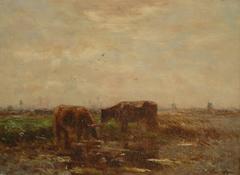Maris W. - Weidenden Kühen, Öl auf Leinen 24.1 x 32.6 cm, signiert l.l.