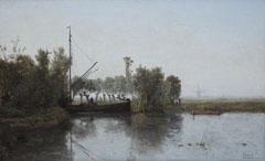 Gabriel P.J.C. - Torfstecher mit Kahn in einer Polderlandschaft, Öl auf Leinen 39,4 x 60 cm, signiert r.u.