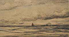 """Mesdag H.W. - Die See mit """"Bom""""schiffen in der Ferne, schwarze Kreide auf Papier 18 x 34.2 cm, signiert u.r."""