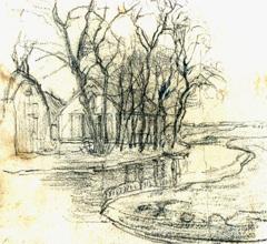 Mondriaan P.C. - A farm near Duivendrecht, detailed examination of the right side, Bleistift auf Papier 13,6 x 15 cm cm, zu datieren ca. 1905