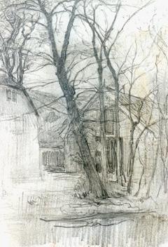 Mondriaan P.C. - A farm near Duivendrecht; detailed examination of a barn, Bleistift auf Papier 16,7 x 11,7 cm cm, zu datieren ca. 1905
