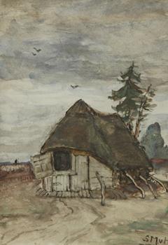Mesdag-van Houten S. - Schafstall in Drenthe, Öl auf Holzfaserplatte 17,9 x 13 cm cm, signiert u.r.
